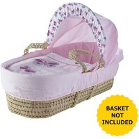 Pink Butterfly Moses Basket Bedding Set
