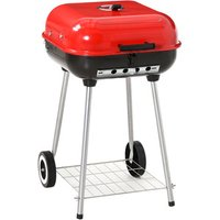 Charcoal Trolley Red BBQ  - Red/Black