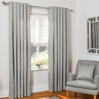 'Diamond Geo Jacquard Eyelet Curtains - Grey / 229cm