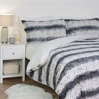 Faux Fur Duvet Cover and Pillowcase Set - Grey / King
