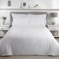 Luxury Waffle Duvet Cover and Pillowcase Set - White / Super King