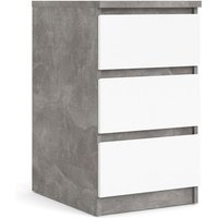 Columbia Bedside With 3 Drawers  - Concrete/White