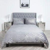 Geometric Metallic Fleece Duvet and Pillow Case Set - Silver / Single