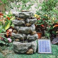 Stacked Stones Waterfall Cascade Water Fountain - Grey / Solar