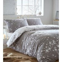 Flannelette Galaxy Duvet Cover and Pillowcase Set  - Grey / Super King