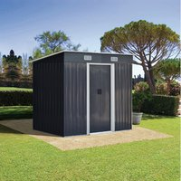 Metal Garden Storage Shed - Charcoal black / 194cm