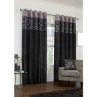 Tesserae Lined Eyelet Curtains - Black / 229cm
