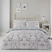 Capri Damask Printed Duvet Cover and Pillowcase Set - Lilac / Double