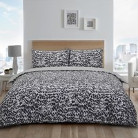 Masai Animal Print Duvet Cover and Pillowcase Set - Grey / King