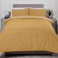 Riley Reversible Duvet Cover and Pillowcase Set - Yellow/Ochre / Double