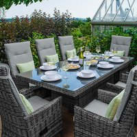 Ruxley 8 Seater Rattan Rectangular Dining Set-Brown - Grey