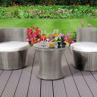 3 Piece Rattan Bistro Stackable Garden Furniture Set With Cover - Grey