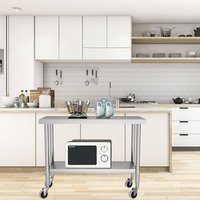 Kitchen Work Prep Table with Casters - Silver / 150cm