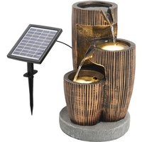 Wine Barrel Shape Water Fountain with Solar LED Light - Brown