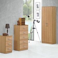 Oak Trio Bedroom Set - Wardrobe, Drawers, Bedside