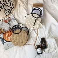 Straw Round Crossbody Handbag with Handle and Tassel - White