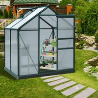 Clear Polycarbonate Large Walk In Greenhouse - Dark Green Frame / 132cm