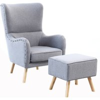 Linen Wing Back Chair and Footstool