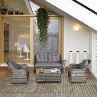 4 Piece PE Rattan Outdoor Wicker Sofa Set - Grey