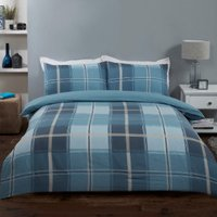 Madison Check Two Pack Duvet Cover and Pillowcase Sets - Blue / King