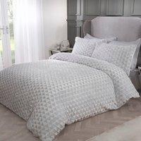 Geo Triangle Fleece Duvet Cover and Pillowcase Set - Grey / King