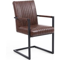 Avon Cantilever Leather Match Brown Carver Armrest Dining Chair Set of 2 - Brown