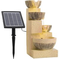 Lamps Cascading Bowls Water Fountain with Solar LED Light - Yellow