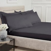 180 Thread Count Cotton Deep Fitted Sheet - Charcoal / Superking
