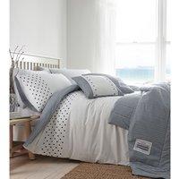 New England Duvet Cover and Pillowcase Set - Navy/White / Super King