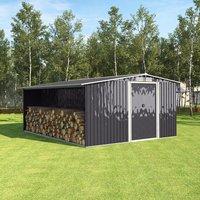 Metal Garden Shed Outdoor Storage - Black / 313cm
