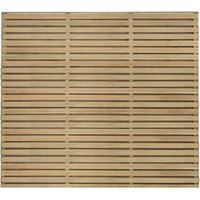 Contemporary Double Slatted Fence - Natural timber / 3 / 150cm