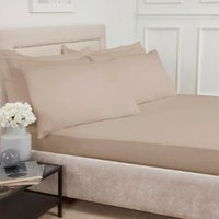 180 Thread Count Cotton Fitted Sheet  - Natural / Double