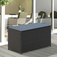 Rattan Outdoor Wicker Storage Box - Dark Brown