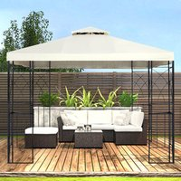 Outdoor Pergola with Canopy and Netting - Cream White