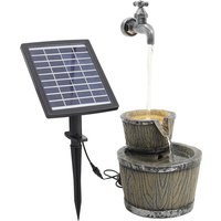 Faucet Cascading Bowls Rustic Water Fountain with Solar LED - Grey
