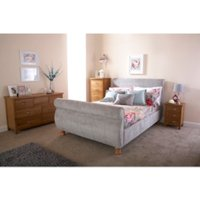 Chicago Sleigh Bed Frame - Silver / Double