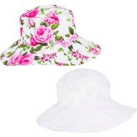 Ladies Reversible Wide Brim Floral Hat