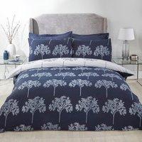 Trees Duvet Cover and Pillowcase Set - Navy / King