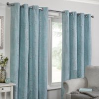 Travelling Leaf Eyelet Curtains - Duck Egg / 229cm / 168cm