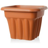 Wham Vista 33cm Square Plastic Garden Planter Terracotta - T