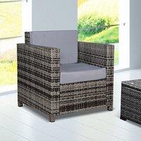 1 Seater Rattan Garden Wicker Weave Single Sofa - Grey
