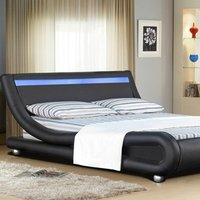 Italian Designer Faux Leather LED Bed Frame In Black - Double