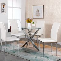 WestWood Glass Round Dining Table and 4 Chairs Set - White