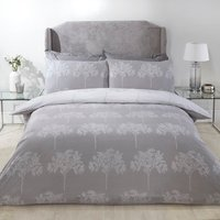 Trees Duvet Cover and Pillowcase Set - Silver / King