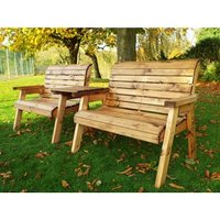 Charles Taylor Twin Bench Set With Straight Tray and Cushions - Green/Redwood