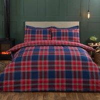 Winter Tartan Duvet Cover and Pillowcase Set - Red/Blue / King