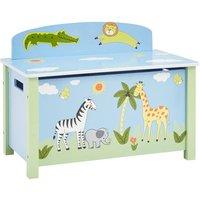 Kids Safari Wooden Big Toy Box - Multicoloured
