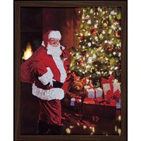 Fibre Optic LED Framed Santa with Christmas Tree Canvas - Red