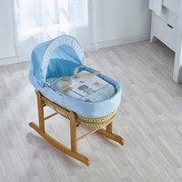 Tiny Ted Blue Moses Basket with Natural Little Gem Rocking Stand