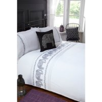Line Stitch Elephant Duvet Cover and Pillowcase Set - White / Single